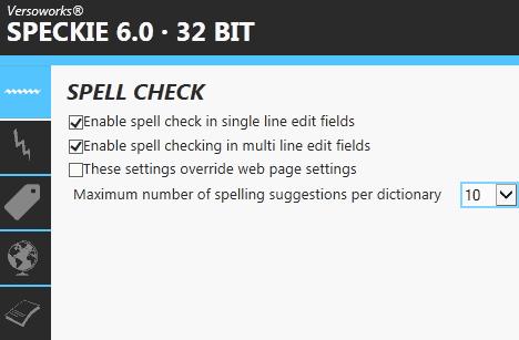 speckie 6.0 spell checking settings