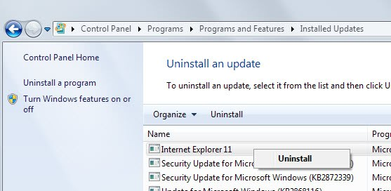 Uninstall Internet Explorer 11 on Windows 7