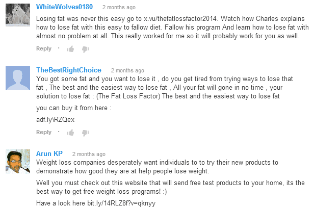 youtube comment spam