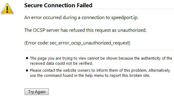 The OCSP server has refused this request as unauthorized