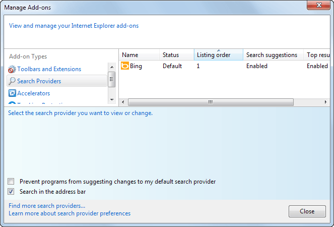 Change the Default Search Engine in IE via Registry