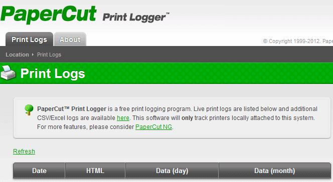 papercut print logger