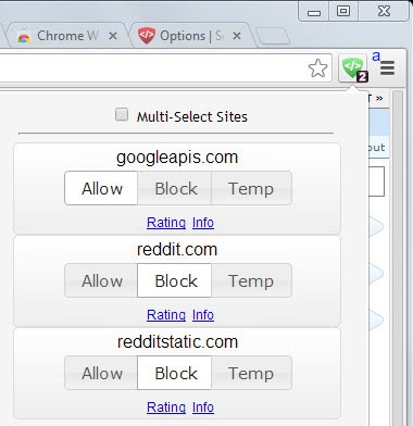 ScriptBlock for Chrome blocks scripts from running automatically on websites
