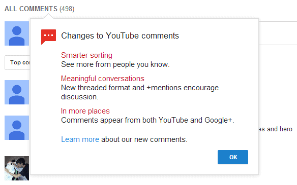changes to youtube comments