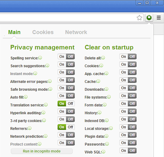 chrome privacy manager