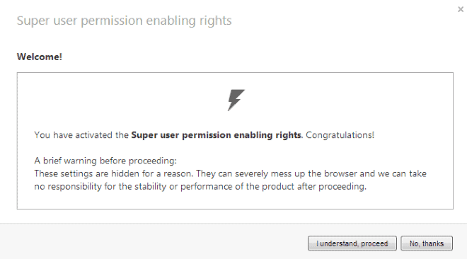 opera super permissions