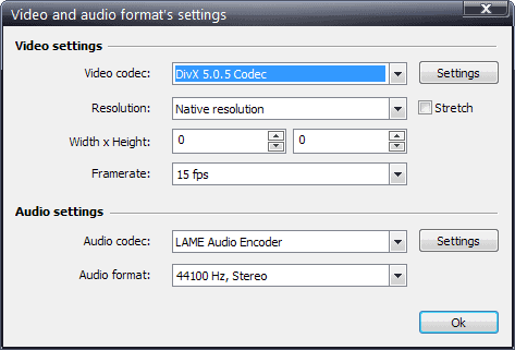 video audio format for recording