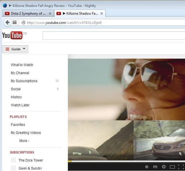 youtube guide menu