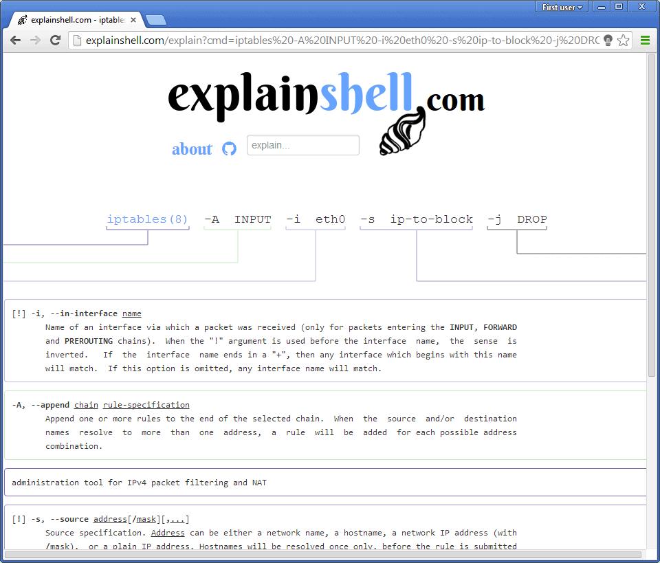 Link: Explain Shell breaks down Linux command line arguments