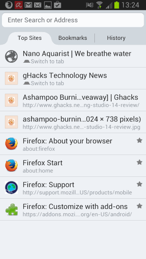 firefox android new tab page