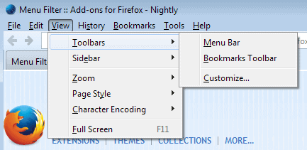 firefox menu bar