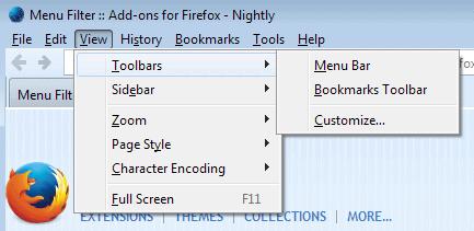 firefox menu bar