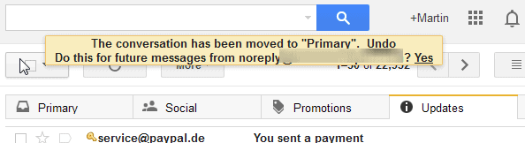 gmail mark primary