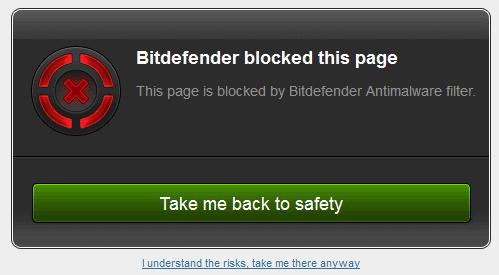 bitdefender blocked this page