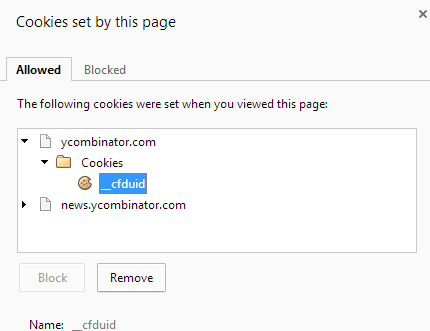 cookies set by this page