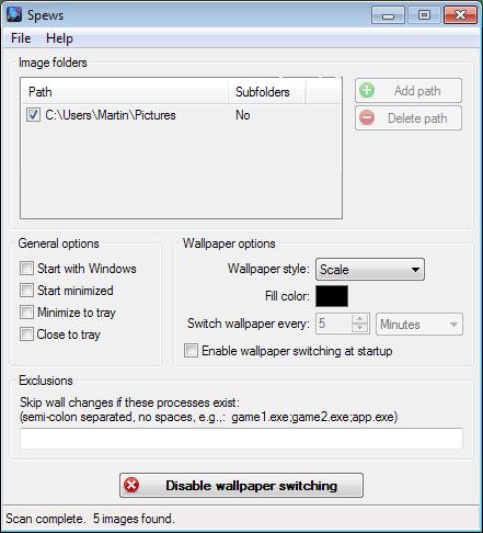 spews desktop background changer