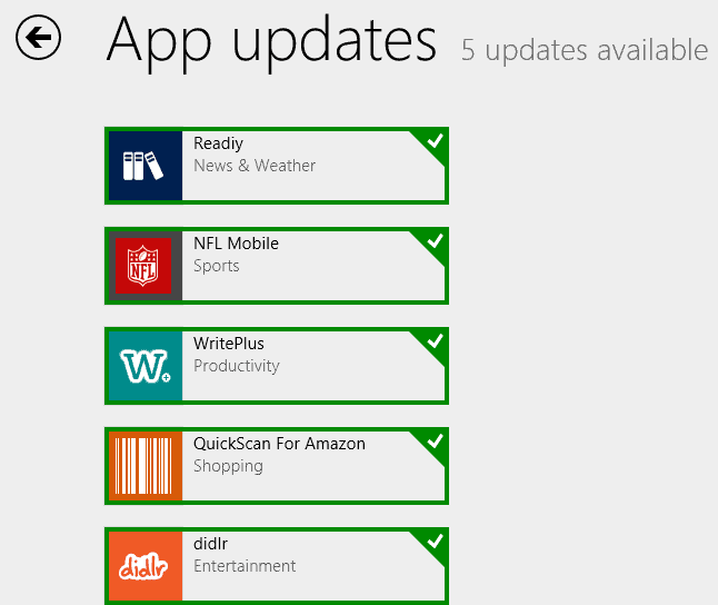 updates application windows 8