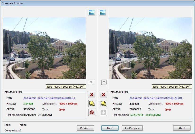 compare duplicate video files