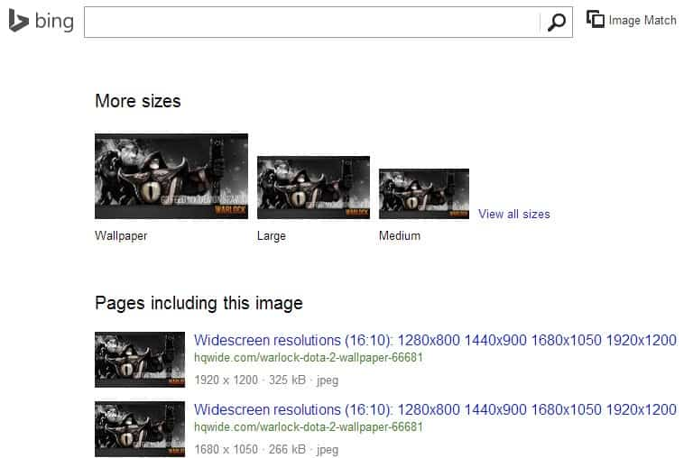 bing image matches