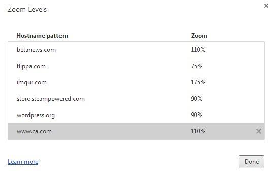 manage zoom levels google chrome