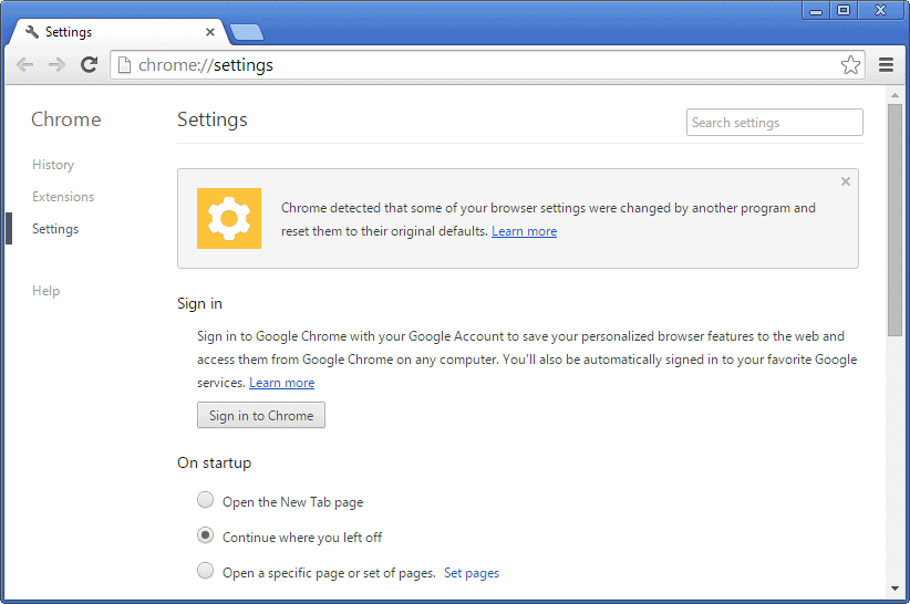 chrome automatic browser reset