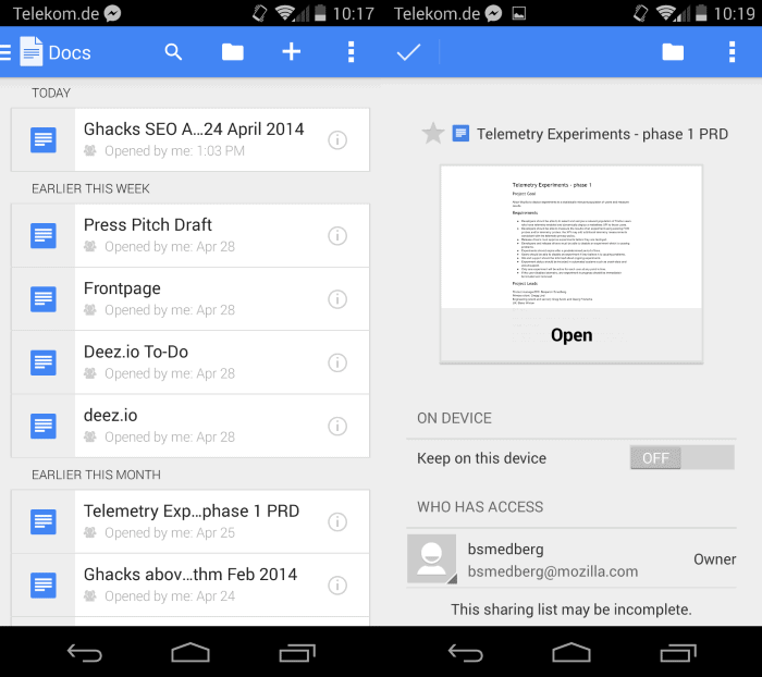Google docs application for android released ghacks tech for Google docs download storage