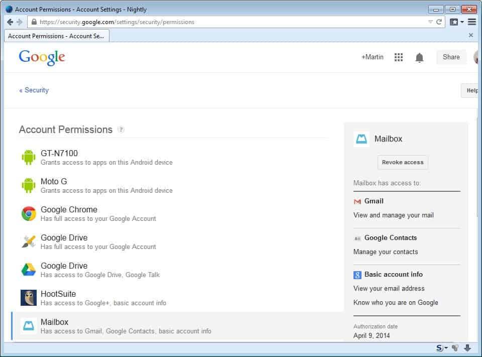 mailbox google account access