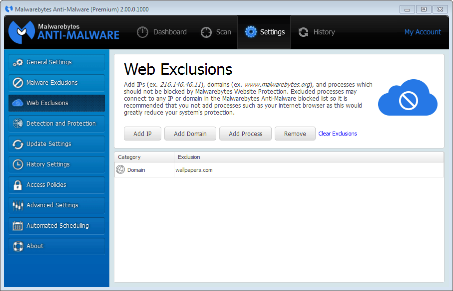 malwarebytes web exclusions