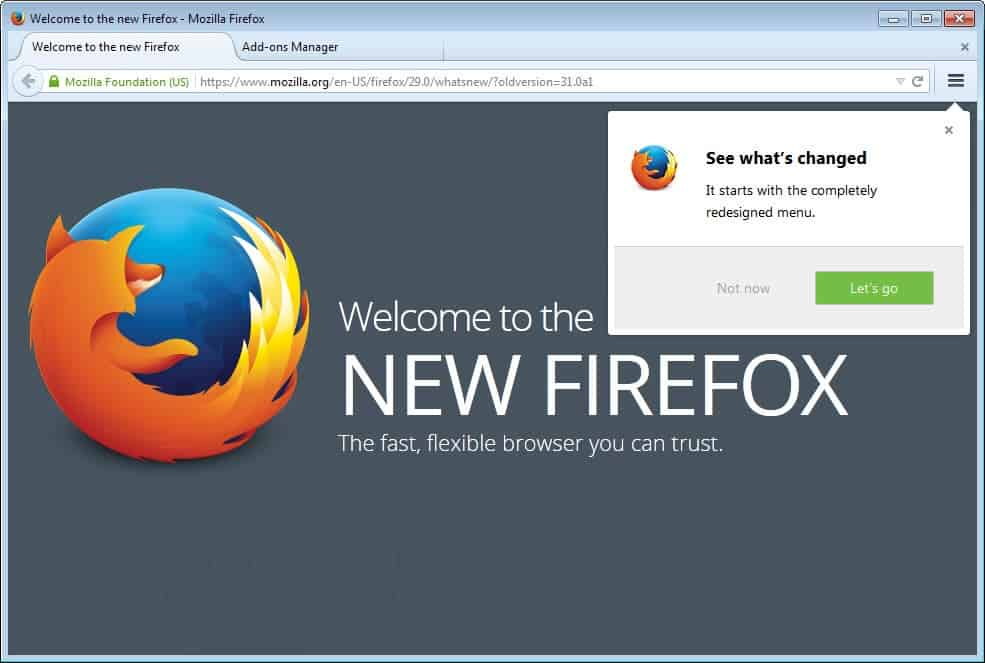 welcome to new firefox 29