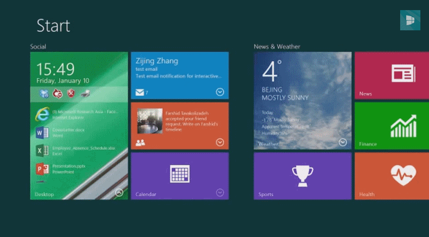 Interactive Live Tiles demonstration by Microsoft for Windows