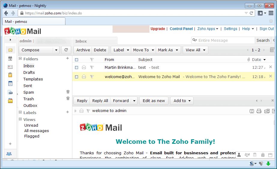 zoho free custom email domains