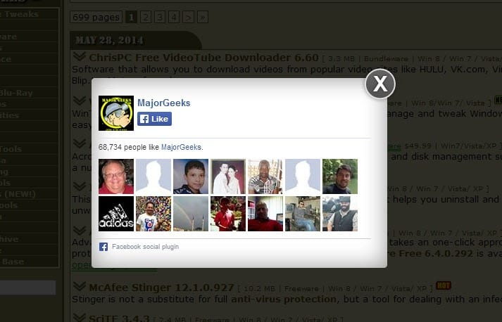 facebook popup widget