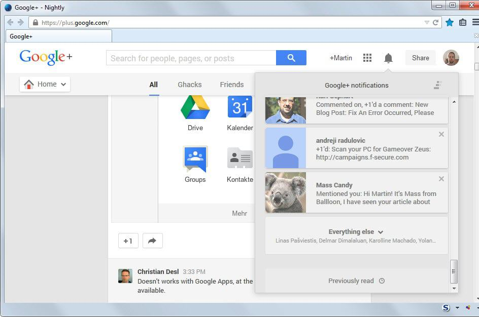 google plus previously read notifications