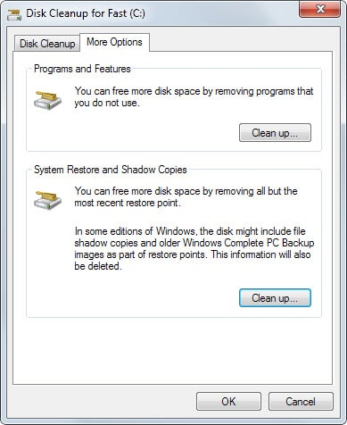 system restore shadow copies