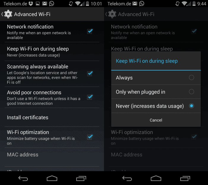wi-fi lock down android