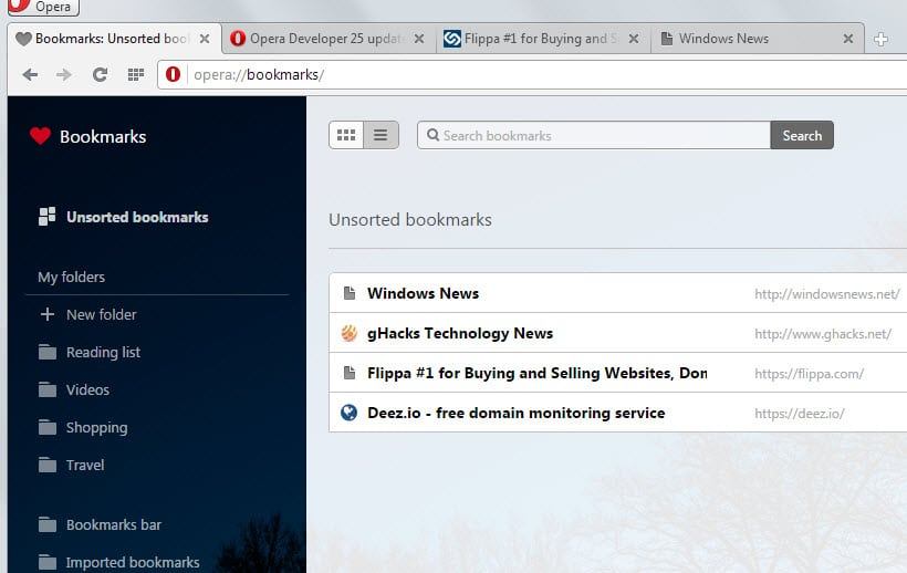 Bookmarks Manager enabled in Opera 25
