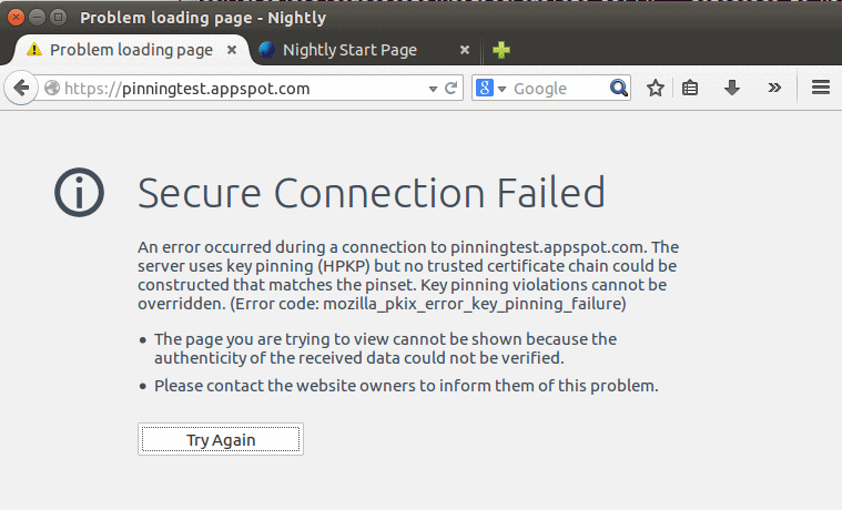 Public Key Pinning in Firefox 32 to protect against MITM attacks