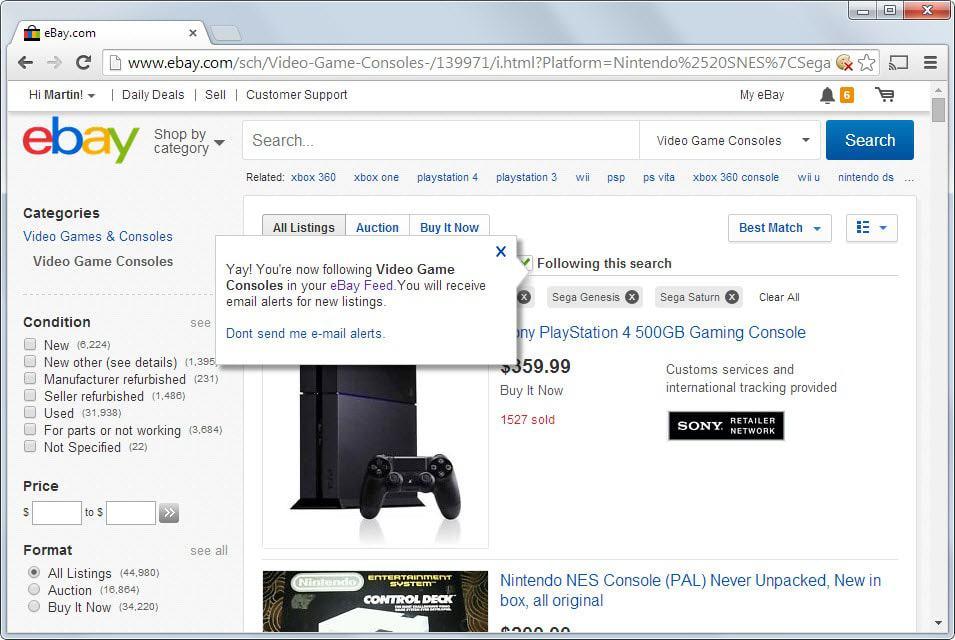ebay save searches