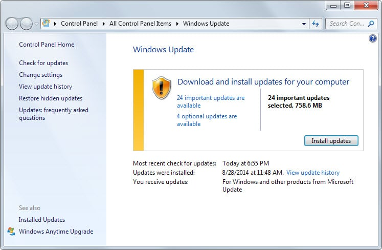 windows updates september 2014