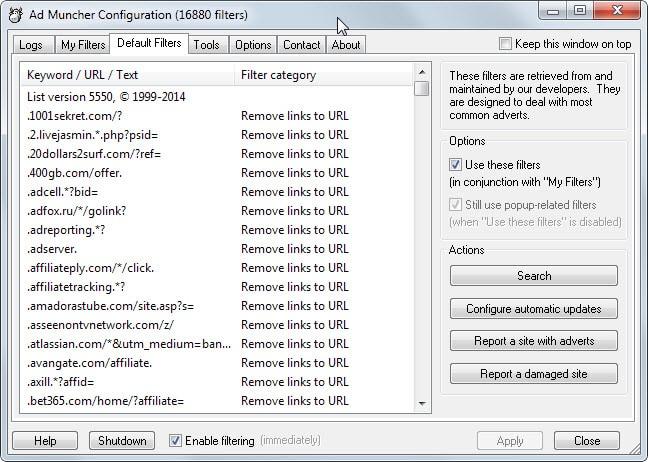 admuncher default filters