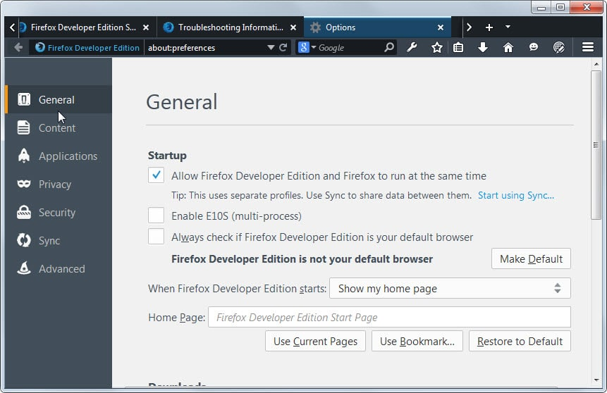 how to allow webs on firefox