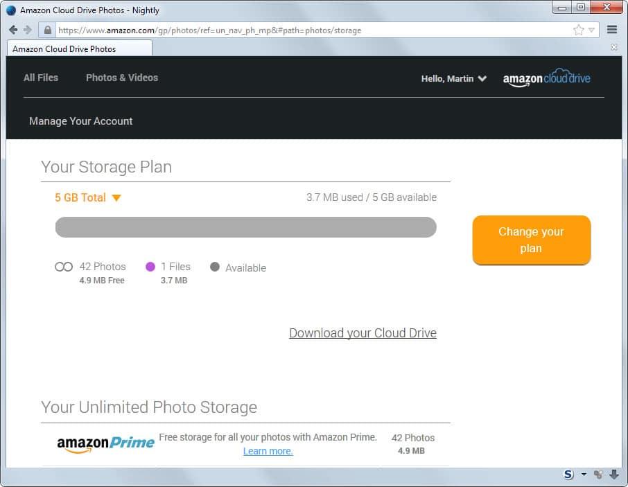 amazon unlimited photo storage