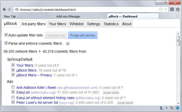 configure ublock