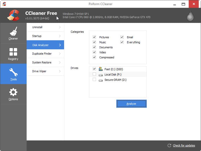 First Look  at CCleaner's Disk Analyzer tool