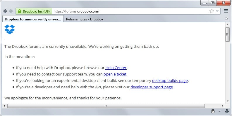 Dropbox Forum have been offline for almost a month