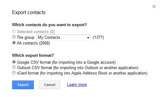 export google contacts