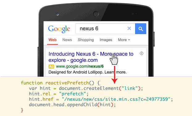 Google Chrome supports reactive prefetching on Google Search now for Android