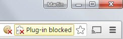 Plug-in blocked notifications in Google Chrome