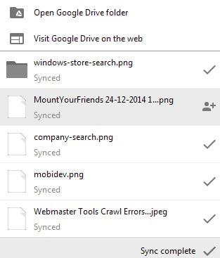 sync status google drive