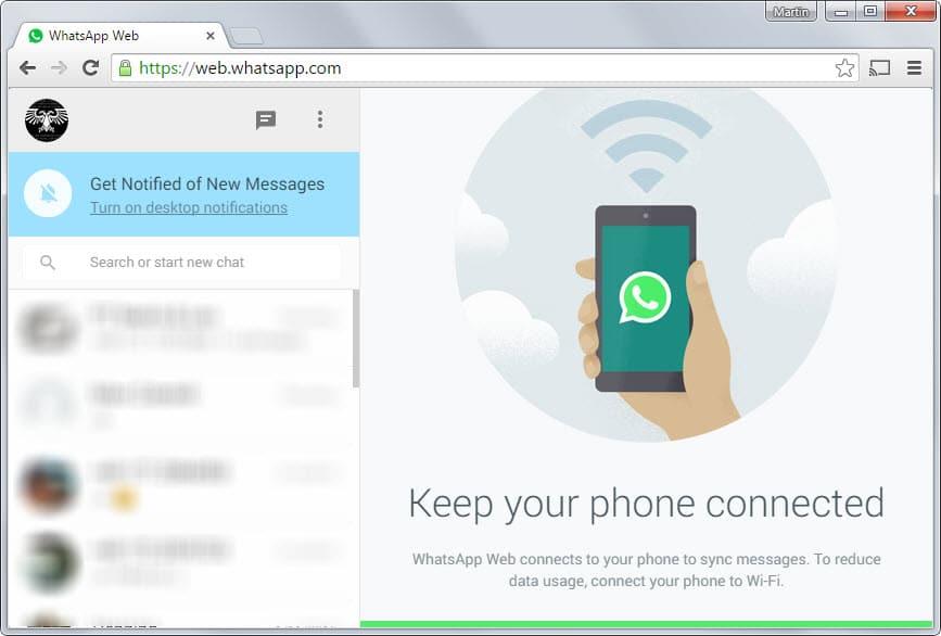 whatsapp web interface